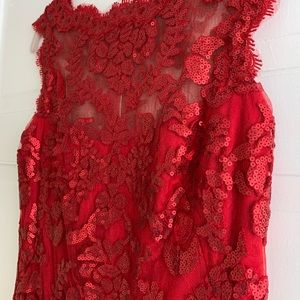 Red sequined Tadashi Shoji Cocktail Dress